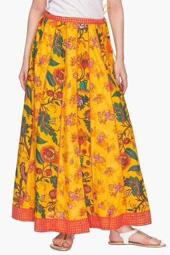 Womens Printed Flared Long Skirt