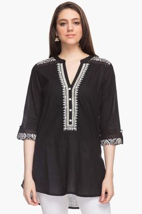 STOP Womens Mandarin Neck Embroidered Kurta