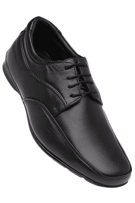FRANCO LEONE Mens Black Leather Formal Lace Up Shoes
