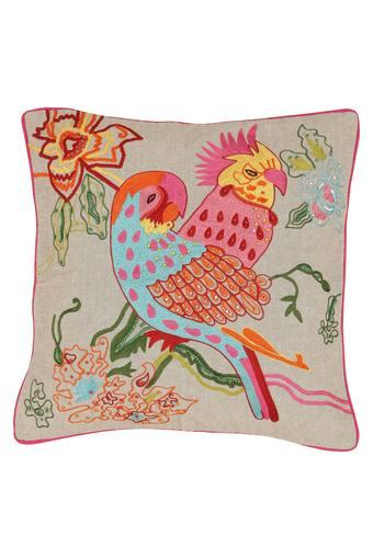 Square Parrot Embroidered Cushion Cover