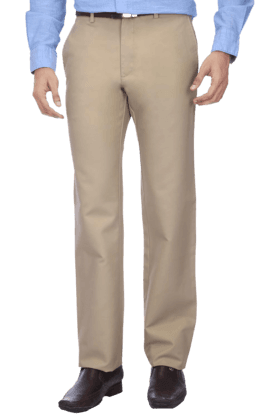 LOUIS PHILIPPE Mens Flat Front Regular Fit Solid Chinos - 9428398