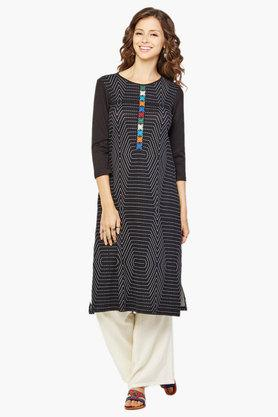 GLOBAL DESI Women's Geometric Print Three Quarter Sleeves Kurta
