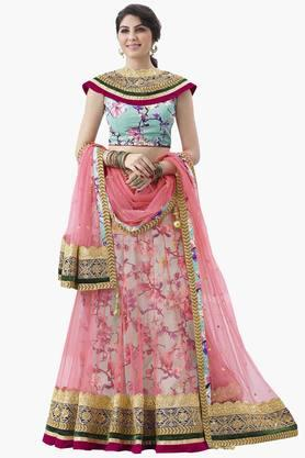 MAHOTSAV Womens Printed Semi-stitched Lehenga Choli