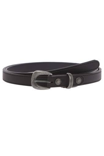 Womens Leather Buckle Closure Skinny Belt