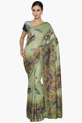 Women Peacock Print Art Silk Saree
