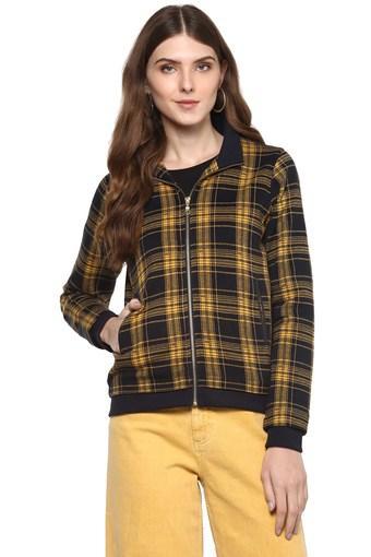 Womens Zip Through Neck Check Sweatshirt