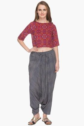 HAUTE CURRY Womens Printed Dhoti Pants With Top