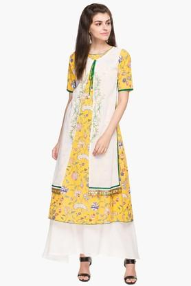 SOCH Womens Tie Up Neck Printed Layered Kurta And Palazzo Set