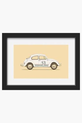 CRUDE AREA White Bettle Printed Framed Art (Extra Large)  ...