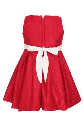 Girls Round Neck Lace Applique Pleated Dress