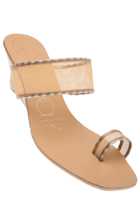 CATWALK Womens Golden Toned Slipon Wedge Sandal