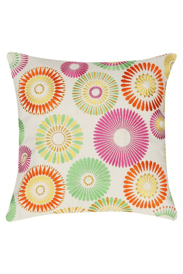 Square Ethnic Mixed Bright Embroidered Cushion Cover