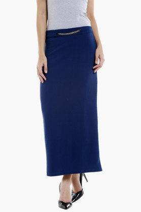 109FWomens Solid Long Straight Skirt