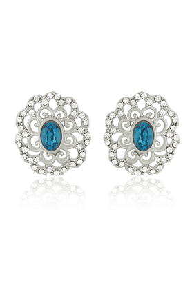 MAHI Mahi Rhodium Plated Blue Crystal Paradise Flower Earrings Made With Swarovski Elements For Women ER1194125RBlu