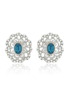 MAHIMahi Rhodium Plated Blue Crystal Paradise Flower Earrings Made With Swarovski Elements For Women ER1194125RBlu