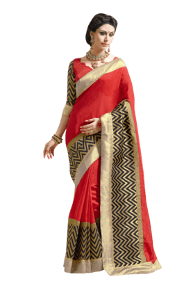 DEMARCA Women Art Silk Saree (Buy Any Demarca Product & Get A Pair Of Matching Earrings Free) - 200875819