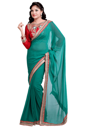 DEMARCA Women Satin And Chiffon Saree (Buy Any Demarca Product & Get A Pair Of Matching Earrings Free) - 200355959_9463