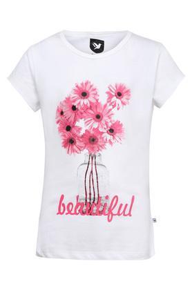 Girls Round Neck Floral Print Tee