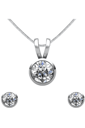 MAHI Rhodium Plated Solitaire Pendant Set Made With Swarovski Zirconia For Women NL1105026R