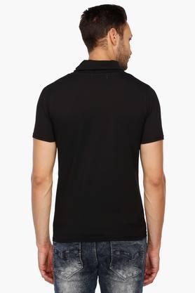 Mens Mao Collar Colour Block T-Shirt