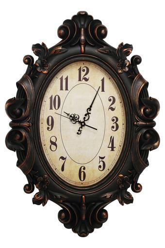 Oval Wooden Finish Victorian Wall Clock with Arabic Time Markers