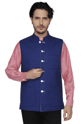 THEME Mens Sleeveless Slim Fit Printed Nehru Jacket