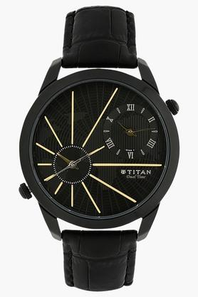 TITAN Mens Chronograph Dual Time Leather Watch - 1707NL01