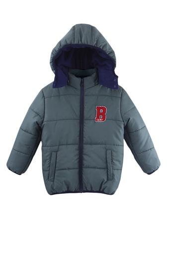 Boys Hooded Neck Solid Quilted Jacket