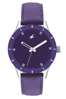 FASTRACK Mens Watch With Purple Leather Strap - 6078SL05