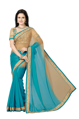 DEMARCA Women Faux Georgette Saree (Buy Any Demarca Product & Get A Pair Of Matching Earrings Free) - 200875768