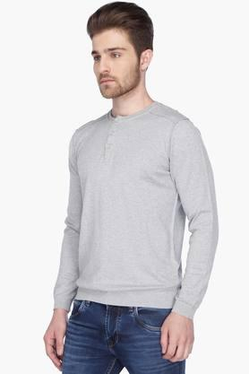 LEVISMens Full Sleeves Henley Neck Slub Sweater