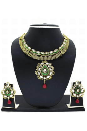 ZAVERI PEARLS Carved Antique Necklace Jewel Set - ZPFK3354