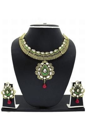 ZAVERI PEARLSCarved Antique Necklace Jewel Set - ZPFK3354
