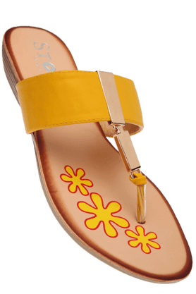 STOP Womens Yellow Susan Slipon Flat Sandal