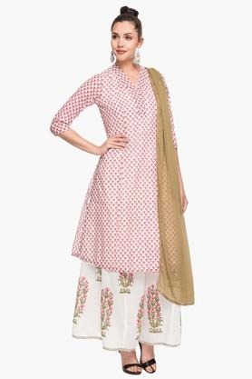 BIBA Womens V Neck Printed Kurta Palazzo And Dupatta Set