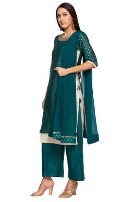 Womens Round Neck Printed Zari Embroidered Layered Palazzo Suit
