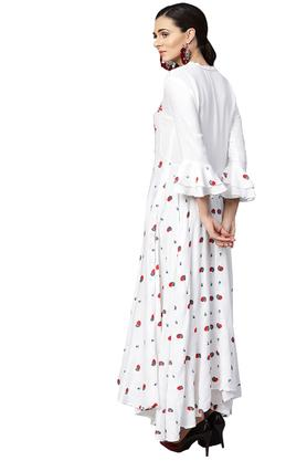 Womens Fit and Flared Mandarin Collar Printed Embroidered Maxi Dress