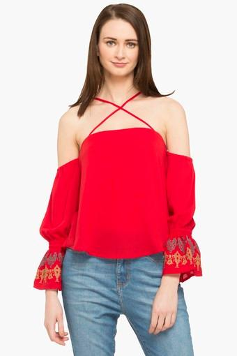 Womens Strappy Neck Solid Top