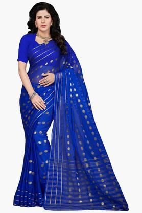 Women Faux Georgette Zari Border Saree