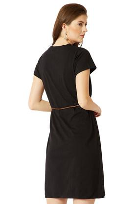 Womens Round Neck Solid Belted Mini Shift Dress