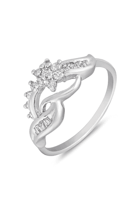 MAHI Mahi Rhodium Plated Winsome Vine Finger Ring With CZ For Women FR1100650R