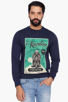 FLYING MACHINEMens Full Sleeves Round Neck Printed Sweatshirt