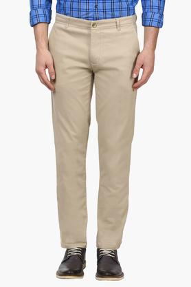 PARX Mens Tapered Fit 4 Pocket Solid Trousers  ...