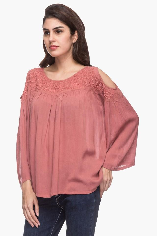 e7c13f406b2453 Buy FRATINI WOMAN Womens Round Neck Solid Embroidered Cold Shoulder Top