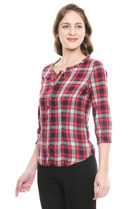 Womens Tie Up Neck Checked Casual Shirt