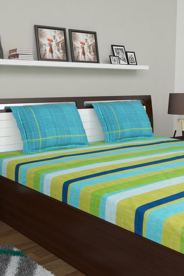 Stripe Double Bed Sheet with Pillow Cover