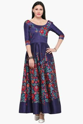 HYPNOTEX Womens Round Neck Embroidered Gown