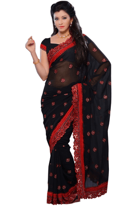 DEMARCA De Marca Black Georgette Designer DF-280C Saree