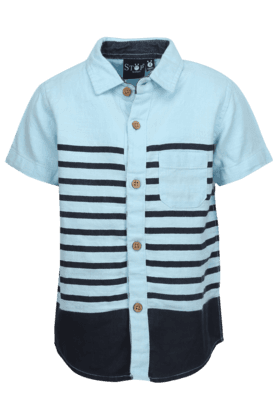 Boys Cotton Short Sleeves Stripe Shirt