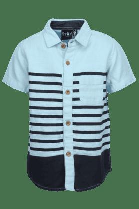 Boys Cotton Short Sleeves Stripe Shirt
